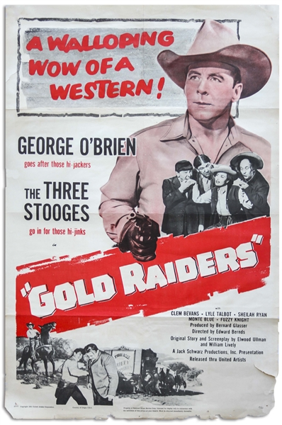 27'' x 41'' One-Sheet Poster for The Three Stooges Film ''Gold Raiders'', United Artists 1951 -- NSS# 51/524 -- Shallow Folds & Chipping to Edges, Very Good