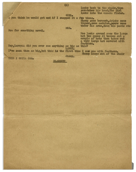 Moe Howard's 5pp. Script for a Scene With Moe, Larry & Shemp -- Entire Skit Is a Funny Double Entendre With the Stooges Playing Fashion Photographers -- Missing 1st Page -- Very Good Condition