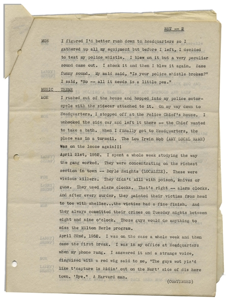 Moe Howard's 11p. Script From August 1953 for a ''Three Stooges Night Club Sketch'' Entitled ''Drag Out the Net'' -- For a Las Vegas Performance, With a Note to ''LOCALIZE'' -- Near Fine Condition