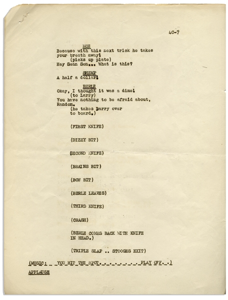 Moe Howard's 7pp. Script for an Appearance by The Three Stooges on Milton Berle's ''Texaco Star Theatre'' -- Likely for Their 10 October 1950 Appearance -- Very Good Condition