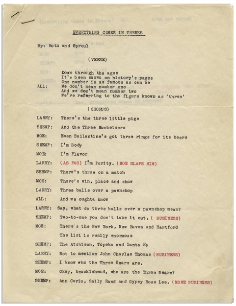 Moe Howard's 2pp. Script for the Skit ''Everything Comes in Threes'' -- Circa 1950 With Shemp -- Near Fine Condition