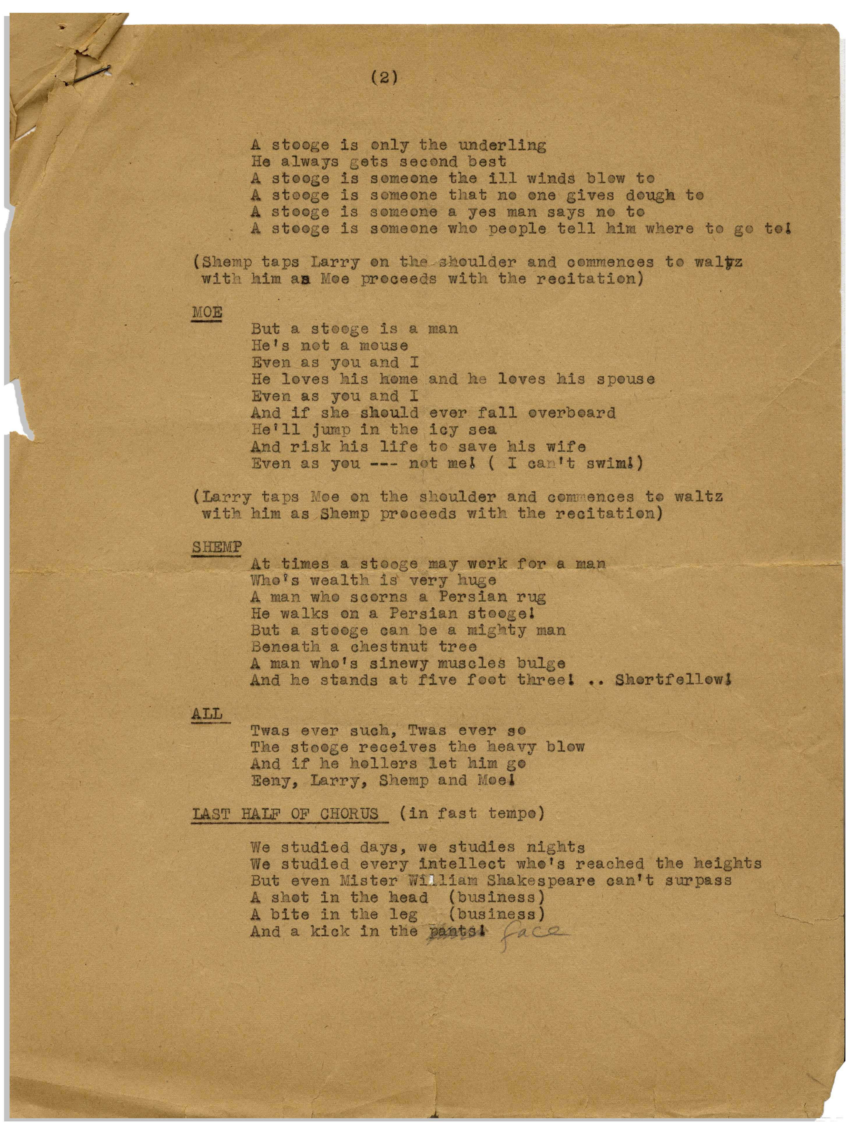 Lot Detail - Moe Howard 2pp  Hand-Annotated Script for a