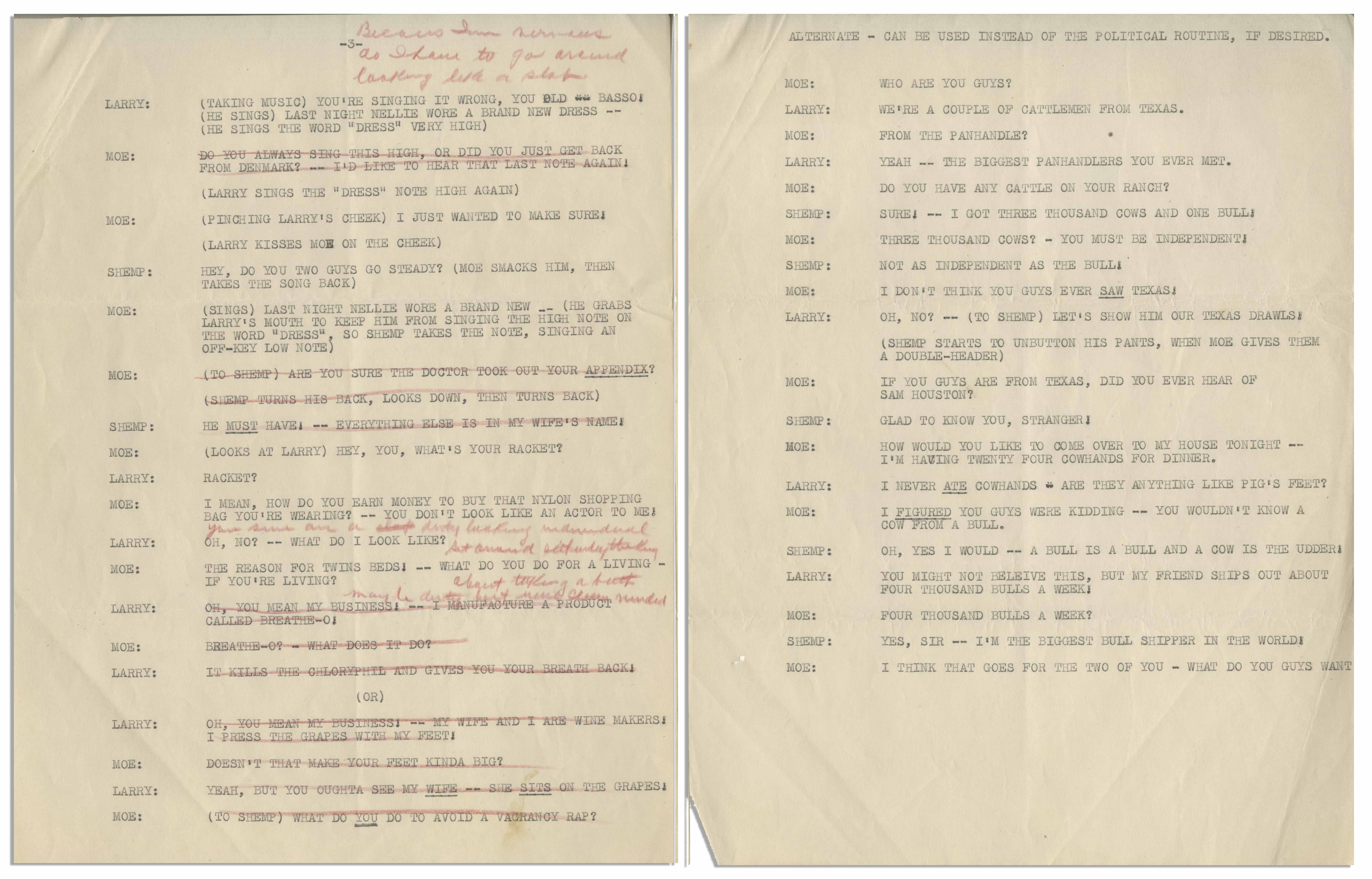 Lot Detail - Moe Howard's 7pp  Script for a Three Stooges
