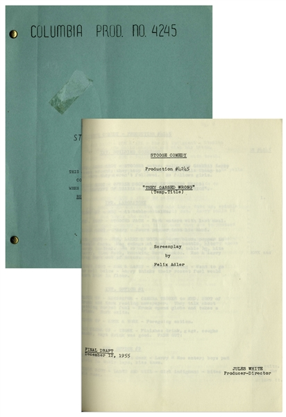 Moe Howard's 8pp. Script Dated December 1955 for The Three Stooges Film ''Hot Stuff'',  the ''Fake Shemp'' Film -- With Moe's Notes on Back Cover & Additional 2pp. of Shot List -- Very Good Condition