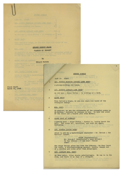 Moe Howard's Script for ''Pardon My Terror'', Originally Written for The Three Stooges, but Unproduced due to Curly's Stroke -- Then Repurposed for Shemp as ''Who Done It?'' -- With Moe's Edits