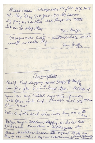 Moe Howard Handwritten Notes Entitled ''Material for [Mike] Douglas Show'', Circa 1973 -- Two Pages in Blue Pen on 1 Sheet Measuring 5'' x 7.5'' -- Very Good to Near Fine