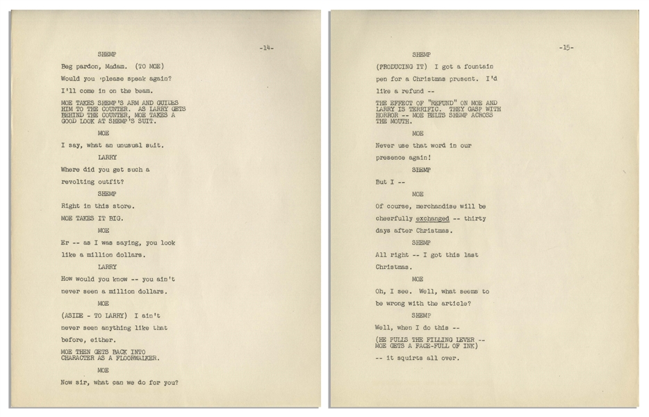 Moe Howard's 62pp. Script, Plus Run Down Page, for ''The Colgate Comedy Hour'' Airing 16 December 1951 -- Very Good Plus Condition