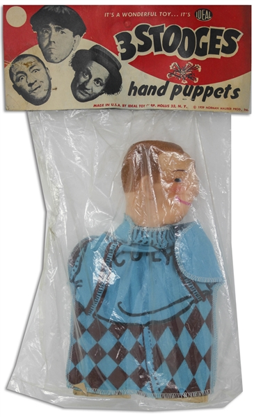 Three Stooges Hand Puppet From 1959 of Curly in Original Ideal Packaging -- Tear to Plastic on Side, Overall Very Good Condition
