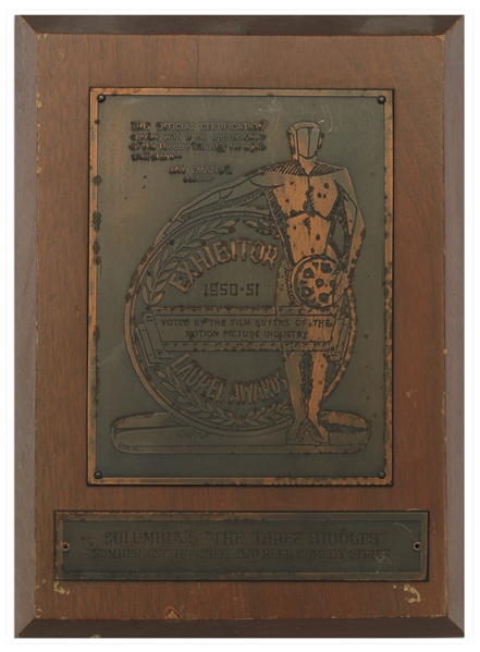 Moe Howard's Laurel Award, Awarded to The Three Stooges for Two-Reel Comedies From 1950-1951 -- Plaque Measures 6.75'' x 9.25'' -- Some Nicks to Wood & Mild Tarnishing to Metal, Overall Very Good