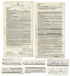 The Three Stooges Contract Twice-Signed by Moe Howard, Larry Fine & Joe DeRita From January 1959 With William Morris Agency -- 2pp. on 1 Sheet Measuring 8.5 x 15.75 -- Very Good