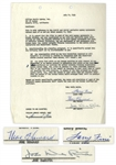 The Three Stooges Signed Agreement With William Morris Agency From July 1959 -- Signed by Moe Howard, Larry Fine & Joe DeRita -- Single Page Measures 8.5 x 11 -- Near Fine