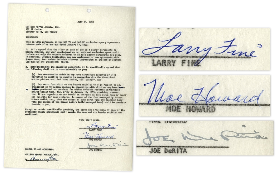 The Three Stooges Signed Agreement With William Morris Agency From July 1959 -- Signed by Moe Howard, Larry Fine & Joe DeRita -- Single Page Measures 8.5'' x 11'' -- Near Fine