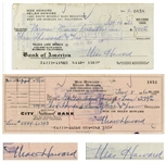 Moe Howard Lot of Two Checks Signed -- Dated 26 September 1960 Measuring 7 x 3.25, and 8 November 1962 Measuring 8.25 x 3 -- Very Good Condition