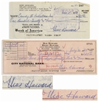 Moe Howard Lot of Two Checks Signed, Both Made Out to Comedy III Productions -- Dated 5 November 1959 Measuring 7 x 3.25, and 30 July 1964 Measuring 8.25 x 3 -- Very Good Condition