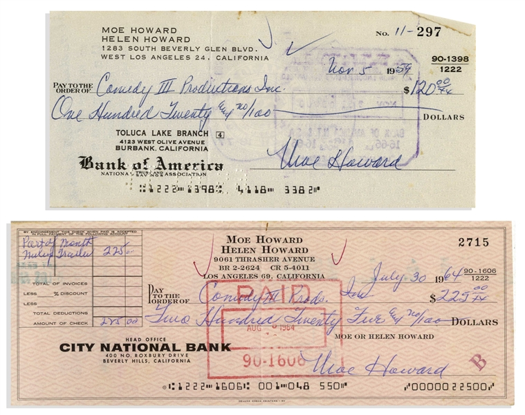 Moe Howard Lot of Two Checks Signed, Both Made Out to Comedy III Productions -- Dated 5 November 1959 Measuring 7'' x 3.25'', and 30 July 1964 Measuring 8.25'' x 3'' -- Very Good Condition