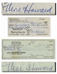 Moe Howard Lot of Two Checks Signed, One Made Out to His Daughter, Dated 11 November 1973 and Measuring 8.25 x 3 -- Other Dated 3 May 1960 -- Very Good Condition