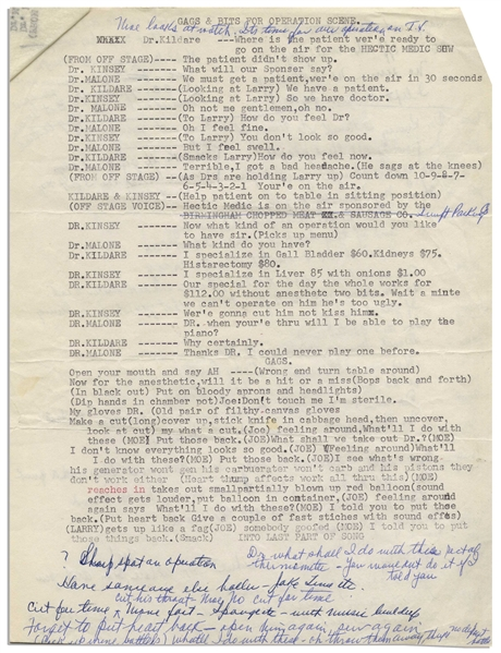 Moe Howard's 3pp. Skit Entitled ''Gags & Bits for Operation Scene'' With Curly Joe -- Signed Multiple Times by Moe With Entire Page Handwritten by Him on Verso of Typed Page -- On 2 Sheets, Very Good