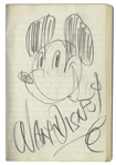 Superb Drawing of Mickey Mouse by Walt Disney, Signed by Disney -- With Phil Sears COA