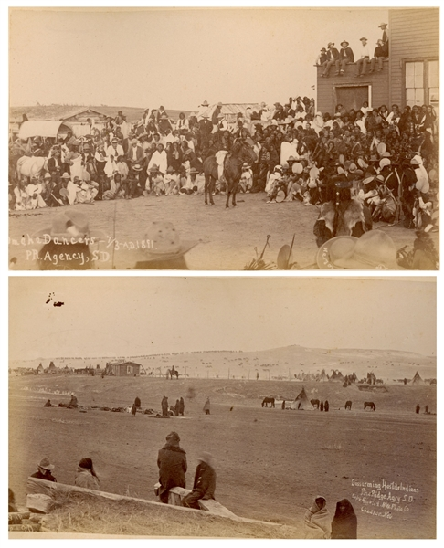 Two Original Wounded Knee Photographs From 1891, Just After the Massacre -- One Photograph Is Titled ''Disarming Hostile Indians''