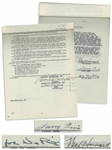 The Three Stooges Meet Hercules 1961 Contract Signed by Moe Howard, Larry Fine & Joe DeRita With Another Page Additionally Signed by Moe -- 20pp. Measures 8.5 x 11.75 -- Near Fine
