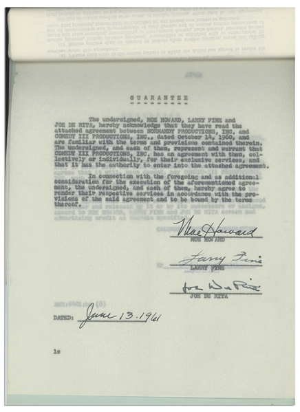 ''The Three Stooges Meet Hercules'' 1961 Contract Signed by Moe Howard, Larry Fine & Joe DeRita With Another Page Additionally Signed by Moe -- 20pp. Measures 8.5'' x 11.75'' -- Near Fine