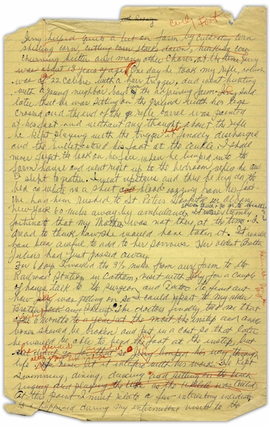 Moe Howard's Handwritten Manuscript Page When Writing His Autobiography -- Moe Recounts Curly's Gun Accident, ''the bullet entered his foot at the ankle -- Single 8'' x 12.5'' Page