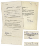 Two May 1959 Contracts Signed by Moe Howard -- One 12pp. Signed Twice by Moe & Initialed Several Times; Other 1pp. Regarding Joe DeRitas Likeness Signed Once -- Each Measures 8.5 x 11, Very Good