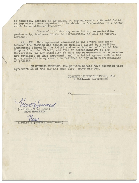 Two May 1959 Contracts Signed by Moe Howard -- One 12pp. Signed Twice by Moe & Initialed Several Times; Other 1pp. Regarding Joe DeRita's Likeness Signed Once -- Each Measures 8.5'' x 11'', Very Good