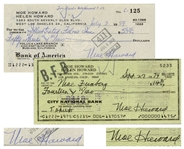 Moe Howard Lot of Two Checks Signed, Made out to Illustrated Films, Inc. Dated 3 July 1959, and Moe Feinberg, Larrys Brother, Dated 27 September 1974 -- Very Good Condition