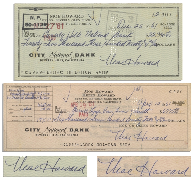 Moe Howard Lot of Two Checks Signed: Dated 15 April 1961 Measuring 8.25'' x 3'' &  Dated 26 December 1961, Standard Check Size -- Very Good Condition