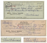 Moe Howard Lot of Two Checks Signed: Dated 15 April 1961 Measuring 8.25 x 3 &  Dated 26 December 1961, Standard Check Size -- Very Good Condition