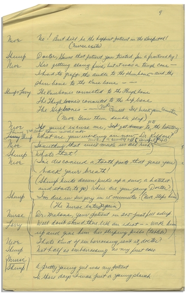 Moe Howard's 10pp. Handwritten Skit, With Shemp, Signed Multiple Times, Plus Writing on Verso of 2 Pages -- Stooges Pose as Drs. Kildare, Kinsey & Malone -- On 8'' x 12.5'' Ruled Paper -- Very Good