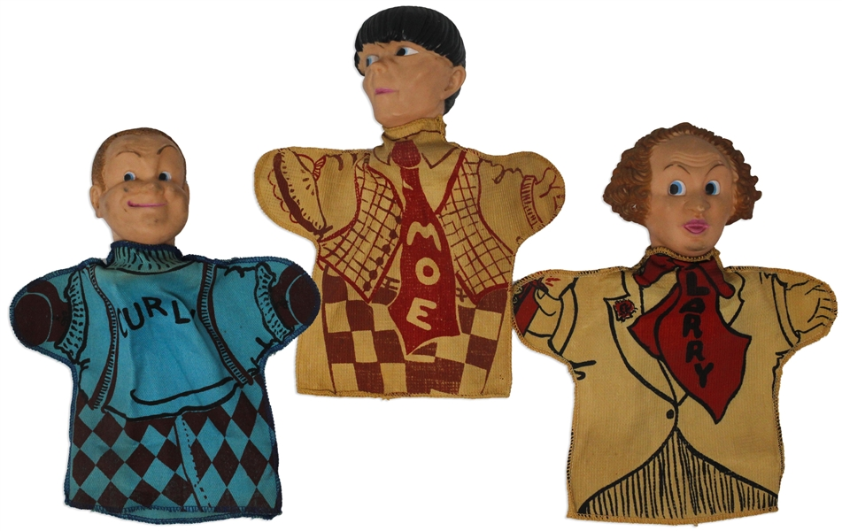 Three Stooges Set of 3 Hand Puppets, Circa 1959, by Ideal Without Packaging -- Each Measures About 9.5'' Tall x 8.5'' Wide -- Light Wear, Else Near Fine