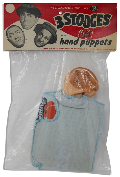 Three Stooges Hand Puppet From 1959 of Curly in Original, Unopened Ideal Packaging -- Very Good to Near Fine Condition