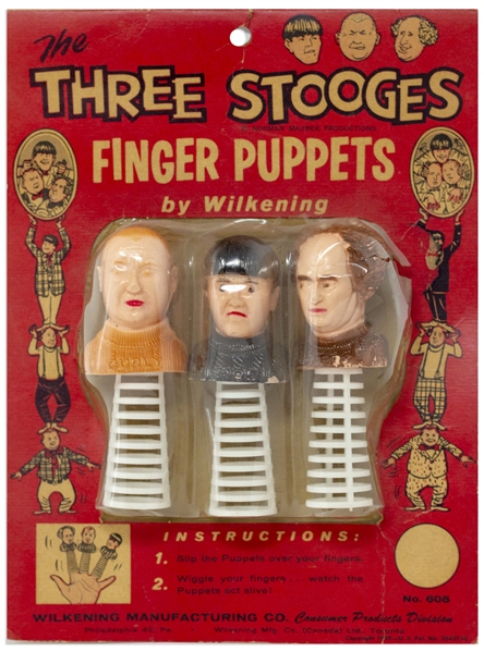 Three Stooges Finger Puppet Set From 1959, in Original Packaging -- Toning & Creasing to Packaging, Plastic Coming Away From Cardboard Backing, Good Condition