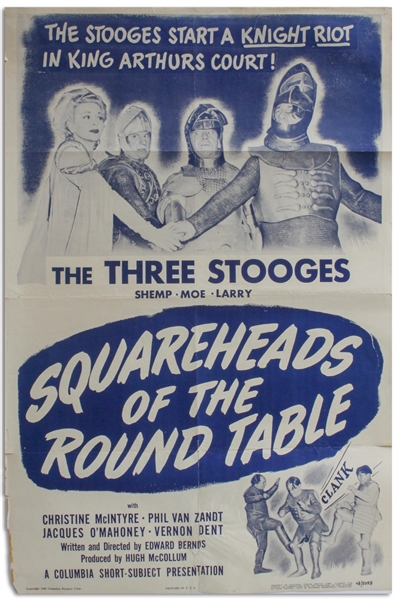 27'' x 41'' One-Sheet Poster for The Three Stooges Film ''Squareheads of the Round Table'', Columbia 1948 -- NSS# 48/5058 -- Chipping & Closed Tears to Margins, Tear at Bottom Repaired, Good Plus