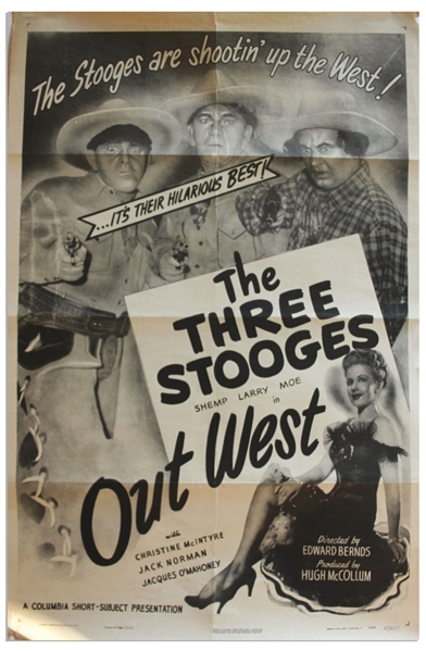27'' x 41'' One-Sheet Poster for The Three Stooges Film ''Out West'', Columbia 1947 -- NSS# 47/4157 -- Shallow Folds & a Few Small Chips to Margins, Else Near Fine