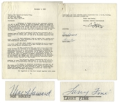"Moe Howard & Larry Fine Signed 2pp. Agreement With Columbia Pictures, Dated 8 November 1956 After Shemps Death -- Moe & Larry Extend Their Contract With Columbia -- 8.5"" x 11"", Very Good"