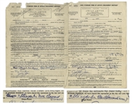Two Contracts From 1950 Signed by Moe Howard as 3 Stooges by [or Per] Moe Howard (owner) -- For Three Stooges Appearances -- Both Measure 8.5 x 12 -- 1 in Good Plus Condition, Other Very Good