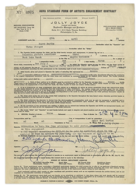 Two Contracts From 1950 Signed by Moe Howard as ''3 Stooges by [or Per] Moe Howard (owner)'' -- For Three Stooges Appearances -- Both Measure 8.5'' x 12'' -- 1 in Good Plus Condition, Other Very Good