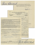 Lot of 2 Moe Howard Signed Contracts: 3pp. Agency Contract From 1951, & 2pp. (1 Sheet) AGVA Contract From 1952 Signed 3 Stooges By Moe Howard -- 8.5 x 11, Both Near Fine