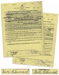 Two January 1959 Contracts Signed by Moe Howard, Who Signs Each The 3 Stooges & Moe Howard -- AGVA Contracts for Three Stooges Performances -- Each Measures 8.5 x 11, Very Good