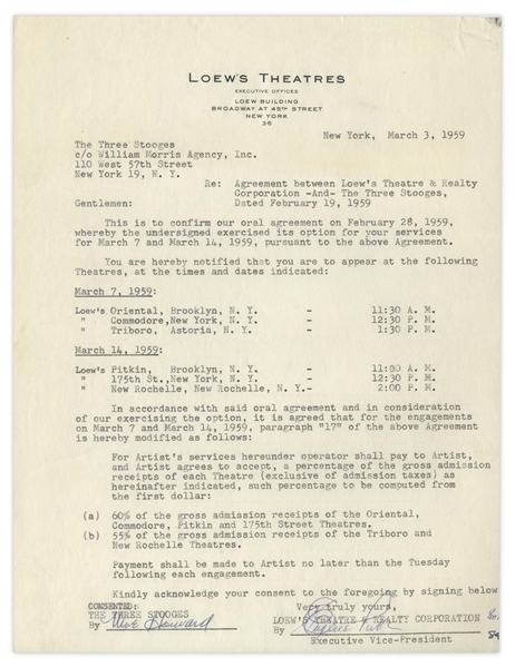 Two 1959 Contracts Signed by Moe Howard -- AGVA Contract Signed ''The 3 Stooges / Moe Howard'' & Loew's Theatres Contract Signed ''Moe Howard'' -- Each Measures 8.5'' x 11'', Very Good