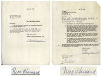 Two 1959 Agreements Signed by Moe Howard -- Regarding Three Stooges Performances & Payments -- Each Measures 8.5 x 11, Very Good Plus