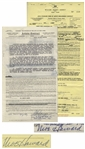 Two August 1959 Contracts Signed by Moe Howard for Three Stooges Performances -- Documents Measure 8.5 x 17 & 8.5 x 14, Very Good
