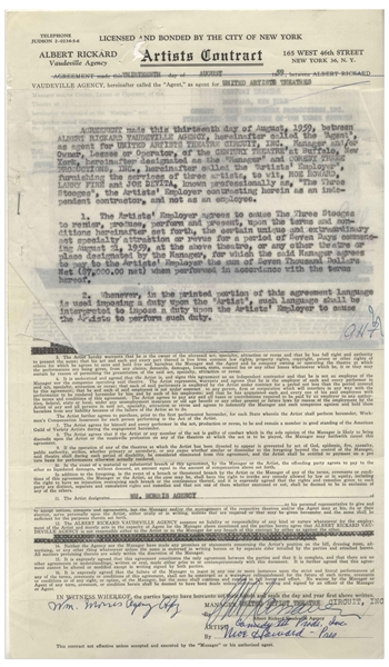 Two August 1959 Contracts Signed by Moe Howard for Three Stooges Performances -- Documents Measure 8.5'' x 17'' & 8.5'' x 14'', Very Good