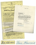 Two 1959-1960 Contracts Signed by Moe Howard -- 8.5 x 14.75 Signed & Initialed; 8.5 x 11 Regarding Frances Langford Special Signed -- Each Measures 8.5 x 11, Very Good