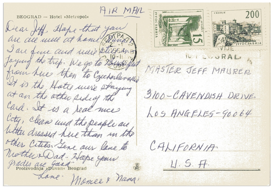 Moe Howard Autograph Postcards Signed ''Momee'' to His Grandson -- Both From Europe in 1966 and 1968 -- Very Good Condition