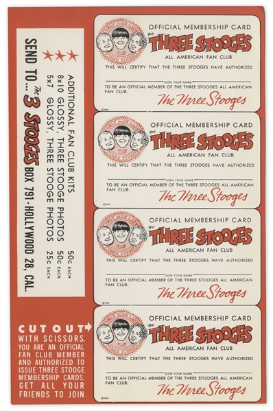 Moe Howard Lot of 13 Fan Club Kits -- Each Kit Includes Four Membership Cards, Sheet of Stamps, Certificate, Two 7'' x 5.25'' Photos With Curly Joe, & Letter in 9'' x 6'' Envelope -- Very Good