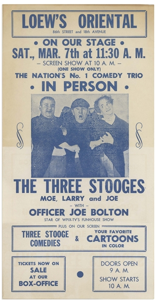 Moe Howard Items With Curly Joe: 5.5'' x 11'' Loew's Oriental Handbill for Three Stooges Show; 5.25'' x 4.75'' Invitation for Chase Club Show; 8'' x 10'' Glossy Photo; About 6 News Clips -- Very Good
